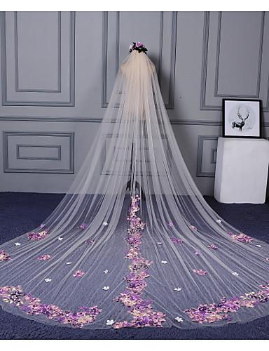 preiswerte Party Zubehör-Einschichtig Schnittkante / Spitzen-Saum Hochzeitsschleier Kathedralen Schleier mit Verstreute Perlen mit Blumen / Applikationen Spitze / Tüll