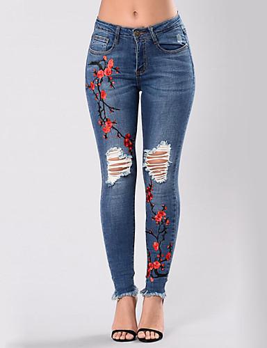preiswerte Röcke & Hosen-Damen Street Schick Übergrössen Skinny Jeans Hose - Blumen / Stickerei Ausgeschnitten / Ripped / Jeansstoff Blau / Sexy