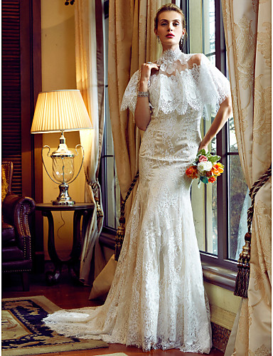 Mermaid / Trumpet Sweetheart Neckline Court Train Lace Made-To-Measure Wedding Dresses Appliques / Buttons LAN TING BRIDE® / Wearable 2 ways / Yes / Wedding Dress Color