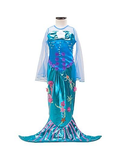povoljno Maske i kostimi-Rep Sirene Aqua Princess Haljine Dječji Djevojčice Božić Halloween Karneval Festival / Praznik Elastan Tactel Ocean Blue Karneval kostime Vintage