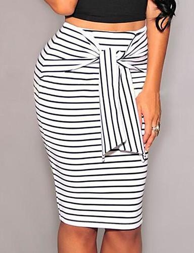 preiswerte Unterteile-Damen Alltag Arbeit Bodycon Röcke - Gestreift Einfarbig Schleife Mit Schleife mit feinen Streifen Weiß Schwarz M L XL / Schlank