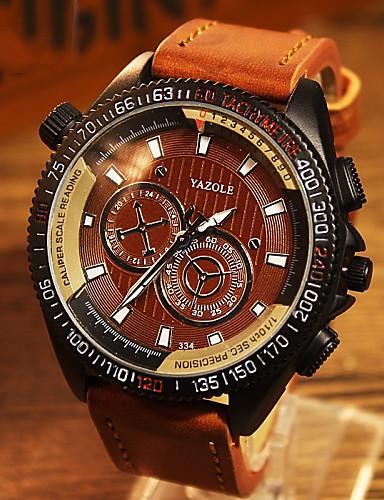 preiswerte YAZOLE®-YAZOLE Herrn Uhr Militäruhr Armbanduhr Quartz überdimensional Leder Braun Armbanduhren für den Alltag Analog Charme Schwarz Braun Blau / Ein Jahr / SSUO 377