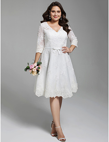 [$142.49] A-Line V Neck Knee Length All Over Lace 3/4 Length Sleeve Formal  Little White Dress / Floral Lace Made-To-Measure Wedding Dresses with ...