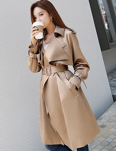 preiswerte DABUWAWA®-Damen - Solide Retro / Aktiv Festtage / Ausgehen / Arbeit Lang Trench Coat, Hemdkragen