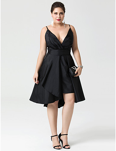 cheap Cocktail Dresses-A-Line Fit & Flare Little Black Dress Convertible Dress Cute Holiday Homecoming Cocktail Party Dress Plunging Neck Sleeveless Asymmetrical Taffeta with Buttons Pleats 2020 / Prom