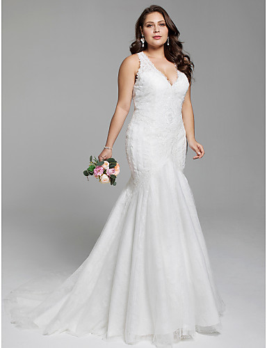 [$279.99] Plus Size Mermaid / Trumpet V Neck Court Train Lace  Made-To-Measure Wedding Dresses with Appliques by LAN TING BRIDE® / Open  Back