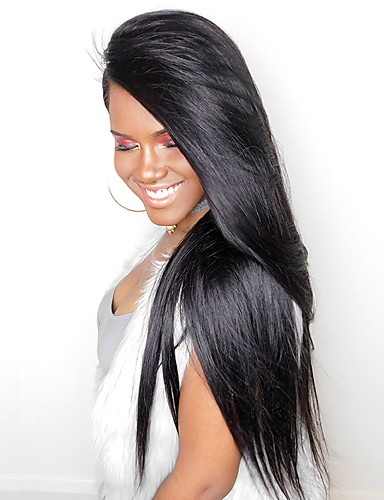 povoljno Perike s ljudskom kosom-Ljudska kosa Perika s prednjom čipkom bez ljepila Lace Front Perika stil Ravan kroj Perika Prirodna linija za kosu Afro-američka perika 100% rađeno rukom Žene Srednja dužina Dug Perike s ljudskom