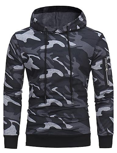 preiswerte Bleib warm und komfortabel-Herrn Aktiv / Militär Langarm Mit Kapuze Kapuzenshirt Solide / Herbst / Winter