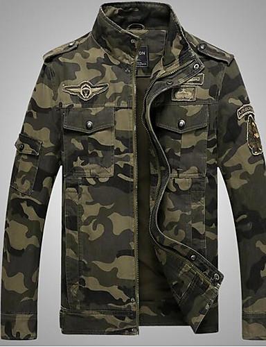 preiswerte Normale Jacken-Herrn Alltag / Wochenende Militär Herbst Standard Jacke, camuflaje Ständer Langarm Baumwolle Armeegrün / Khaki