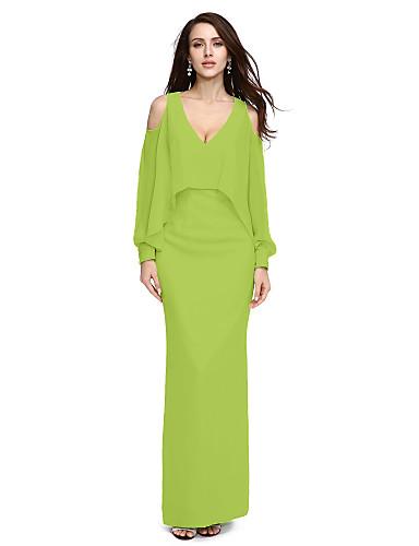 levne Šaty pro slavnostní příležitosti-Pouzdrové Do V Na zem Šifón Formální večer Šaty s Korálky podle TS Couture®