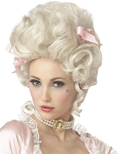 billige Parykker og løshår-Syntetiske parykker / Kostymeparykker Krøllet Kardashian Stil Lokkløs Parykk Hvit Hvit Syntetisk hår Marie Antoinette Dame Hvit Parykk Medium Lengde StrongBeauty