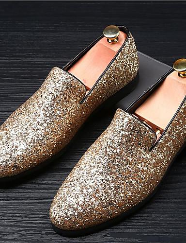 billige Shoes & Bags Must-have-Herre Mokasin Glitter Sommer / Høst Britisk En pedal Svart / Gull / Sølv / Gummi / Bryllup / Fest / aften / Bryllup / Fest / aften