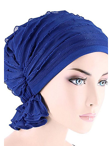 cheap Women's Accessories-Women's Turban Active Cotton Floppy Hat-Solid Colored Pleated Fuchsia Wine Royal Blue / Cute / Fabric