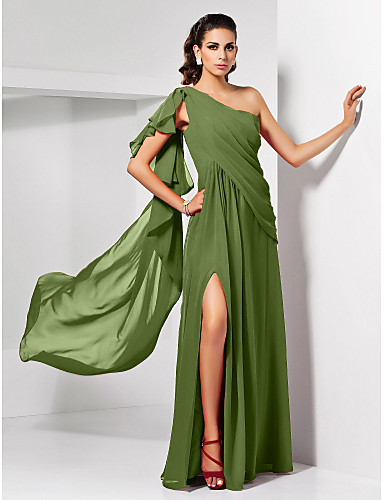 cheap Evening Dresses-Sheath / Column Empire Red Wedding Guest Formal Evening Dress One Shoulder Sleeveless Floor Length Chiffon with Draping Split 2020