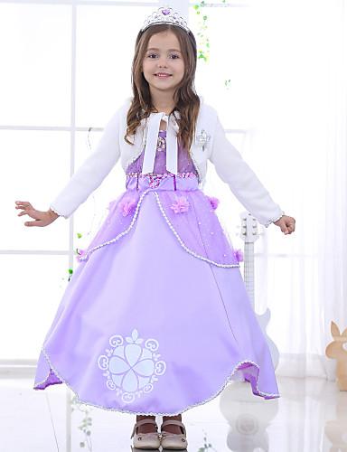 preiswerte Ausverkauf-Kinder Mädchen Blumig Schleife Solide Blumen Jacquard Kurzarm Kleid Purpur / Baumwolle