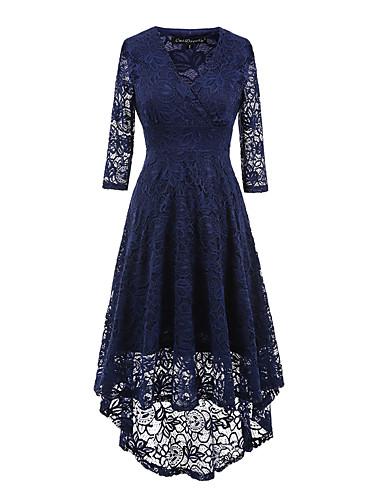 preiswerte Du musst Spitze  lieben!-Damen Festtage Ausgehen Retro Hülle Kleid - Spitze, Solide Asymmetrisch V-Ausschnitt Schwarz