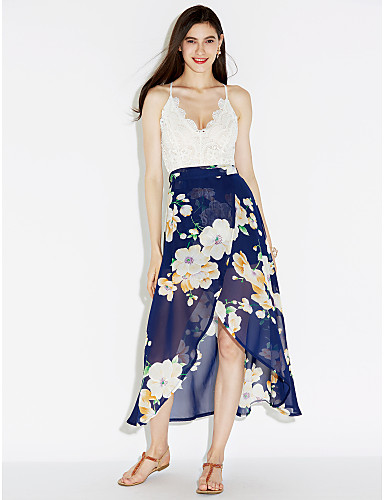 preiswerte Slip-Kleider-Damen Strand Chiffon Swing Kleid - Spitze Gespleisst, Blumen Patchwork Maxi Asymmetrisch V-Ausschnitt Hohe Hüfthöhe