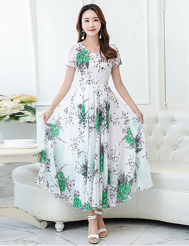 bb20f0761 Mujer Fiesta   Festivos   Noche Vintage   Boho   Chic de Calle Vaina   Corte  Swing Vestido Floral Maxi   Playa 6144485 2019 –  21.99