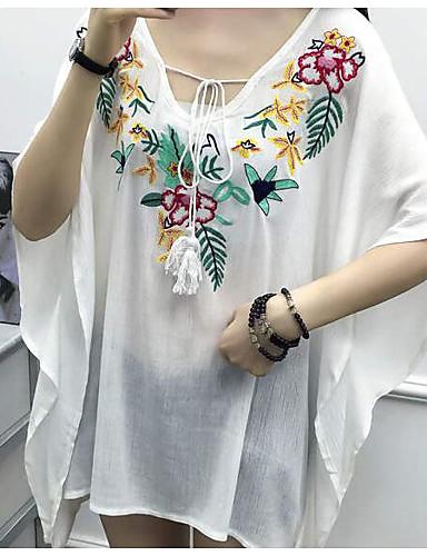 6afce409d49d Γυναικεία Μπλούζα Εξόδου Καθημερινό - Βαμβάκι Φλοράλ Βαθύ V   Μετάξι    Κέντημα 6073334 2019 –  11.69