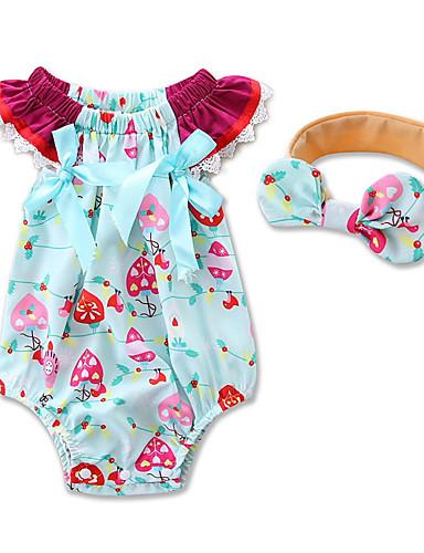 preiswerte Die besten Strampelanzüge-Baby Mädchen Blumig / Zum Kleid Geometrisch / Modisch Kurzarm Baumwolle Body Blau