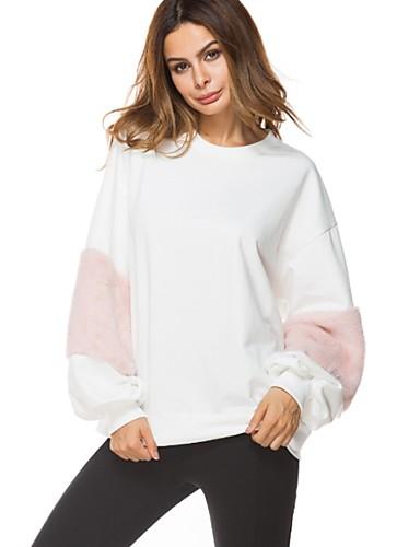 preiswerte Sportlich Damen Kapuzenpullover & Sweatshirts-Damen Street Schick Lang Pullover Einfarbig Baumwolle / Herbst / Winter / Sportlicher Look
