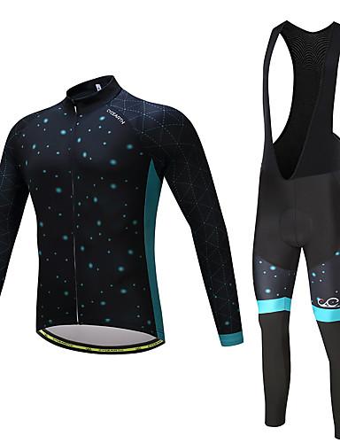povoljno Odjeća za vožnju biciklom-Muškarci Dugih rukava Biciklistička majica s tregericama - Crn / Svjetloplav Bicikl Kompleti odjeće, Pad 3D, Quick dry Poliester, Runo,