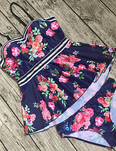billige Bikinier og damemote-Dame Med stropper Regnbue Bandeau Cheeky Bikinikjole Badetøy - Blomstret Overskjørt Åpen rygg M L XL Regnbue