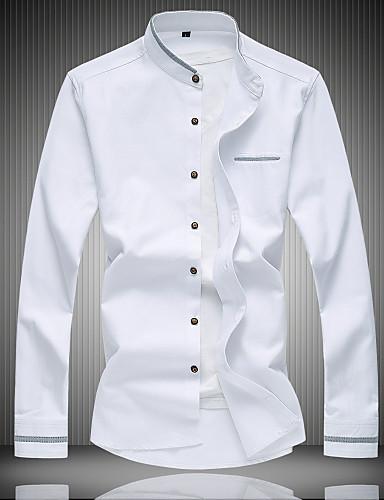 levne Pánské košile-Pánské - Jednobarevné Práce Košile Bavlna Stojáček Světle modrá / Dlouhý rukáv