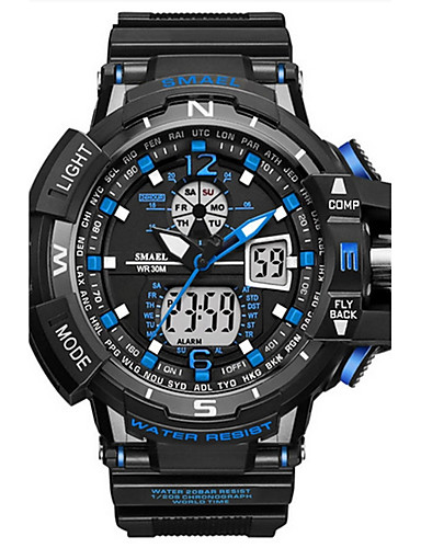 cheap Kids' Watches-SMAEL Men's Digital Watch Navy Seal Watch Japanese Silicone Black 50 m Water Resistant / Waterproof Calendar / date / day Creative Analog - Digital Luxury Casual Elegant Bangle - Blue Gold Green