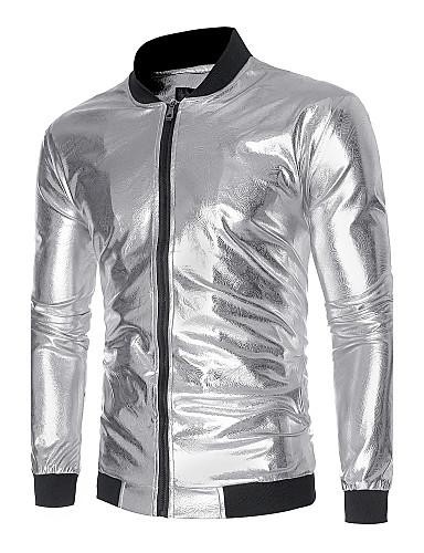 preiswerte Einfarbig-Herrn Alltag Herbst / Winter Standard Jacke, Einfarbig Ständer Langarm Polyester Gold / Schwarz / Silber
