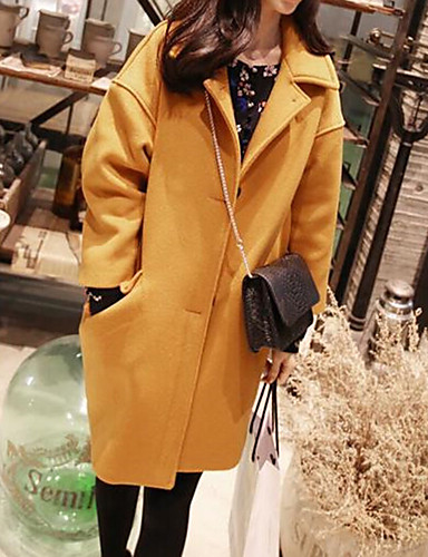cheap Women's Coats & Trench Coats-Women's Shirt Collar Winter Coat Long Solid Colored Daily Cotton Yellow Blushing Pink Light Blue S M L