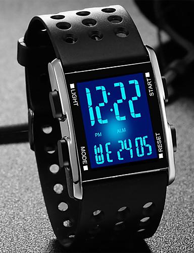 povoljno Dječji satovi-Muškarci Modni sat Smart Satovi digitalni sat Kvarc Silikon Guma Crna Vodootpornost Kalendar Kronograf Šiljci za meso Ležerne prilike - Crn Srebro / Nehrđajući čelik / LED