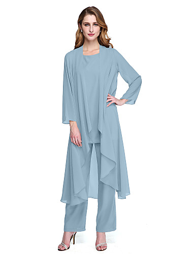 cheap Mother of the Bride Dresses-Pantsuit / Jumpsuit Bateau Neck Floor Length Chiffon Long Sleeve Elegant / Plus Size Mother of the Bride Dress with Sash / Ribbon / Crystals Mother's Day 2020 Mother of the groom dresses