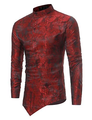 levne Vánoce-Pánské - Jednobarevné Luxus Košile, Žakár Stojáček Štíhlý Béžová / Dlouhý rukáv