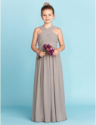 cheap Clearance-Princess / A-Line V Neck Floor Length Chiffon Junior Bridesmaid Dress with Sash / Ribbon / Criss Cross / Wedding Party / Open Back