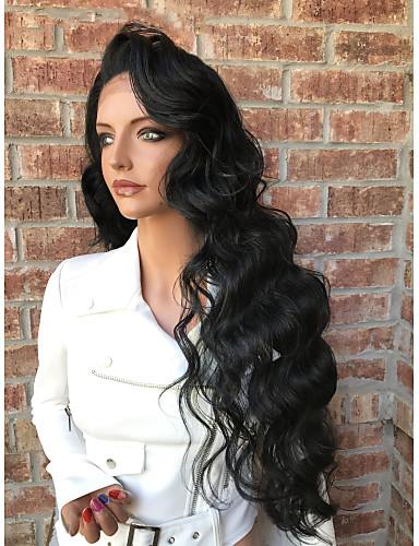 povoljno Perike s ljudskom kosom-Ljudska kosa Full Lace Perika Stepenasta frizura stil Brazilska kosa Wavy Perika 130% Gustoća kose s dječjom kosom Prirodna linija za kosu Za crnkinje 100% Djevica neprerađenih Žene Kratko Srednja