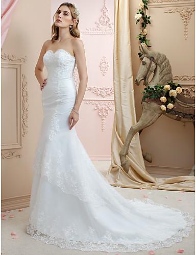 22ebc3e846 Trompeta   Sirena Escote Corazón Corte Encaje   Tul Vestidos de novia  hechos a medida con Lentejuela   Apliques por   Espalda Abierta 2966668  2019 –  129.99