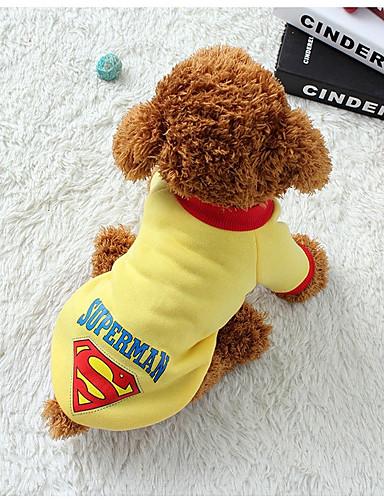 preiswerte Haustierzubehör-Hund Weste Winter Hundekleidung warm halten Schwarz Gelb Blau Kostüm Baumwolle Geometrisch Lässig / Alltäglich XS S M L XL XXL