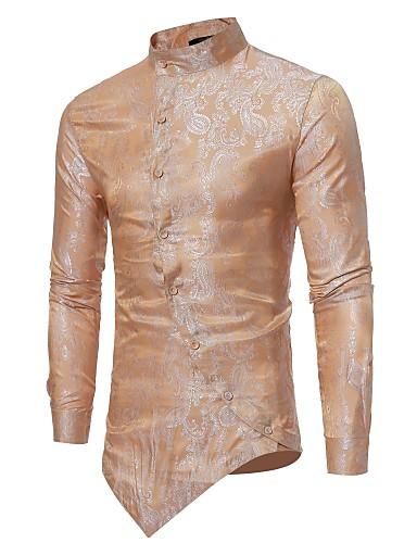 levne Pánské košile-Pánské - Jednobarevné Luxus Košile, Žakár Stojáček Štíhlý Béžová / Dlouhý rukáv