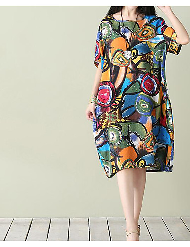 Naisten Kiinalaistyyli Puuvilla Löysä Löysä Mekko - Värikäs ... 286cbd37ce