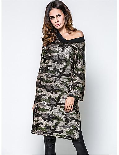 2199 Mujer Noche Casual Algodón Recto Túnica Vestido Camuflaje Tiro Alto 60 70 Cm 70 80 Cm Escote En Pico Primavera Otoño