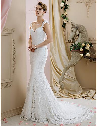 trompeta / sirena escote corazón corte encaje vestidos de novia