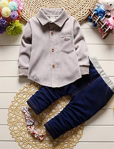 preiswerte Kinderkleidung-Baby Jungen Innen / Schultaschen / Lässig / Alltäglich Solide Langarm Standard Baumwolle Kleidungs Set Grün
