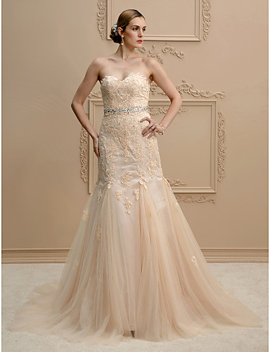Mermaid / Trumpet Sweetheart Neckline Court Train Lace / Tulle Made-To-Measure Wedding Dresses Beading / Appliques LAN TING BRIDE® / Wedding Dress Color / Open Back