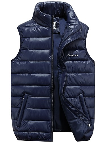 cheap Down Vest-Men's Daily / Going out Street chic Solid Colored Regular Padded, Polyester Sleeveless Red / Navy Blue / Army Green XXXL / 4XL / XXXXXL