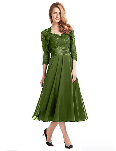 cheap Mother of the Bride Dresses-A-Line Mother of the Bride Dress Convertible Dress V Neck Tea Length Chiffon Corded Lace Sleeveless with Lace Pleats Appliques 2020 / Illusion Sleeve Mother of the groom dresses