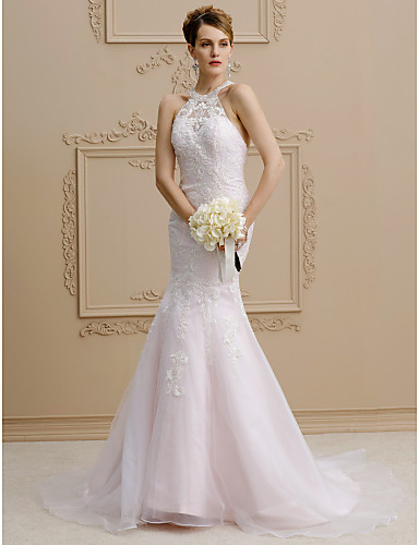 Mermaid / Trumpet Halter Neck Court Train Lace / Organza / Satin Made-To-Measure Wedding Dresses Beading / Appliques LAN TING BRIDE® / Wedding Dress Color / Open Back
