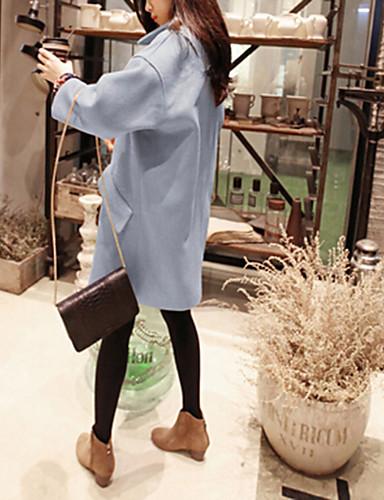 billige Ytterklær til damer-Dame Daglig Vinter Lang Frakk, Ensfarget Skjortekrage Langermet Bomull / Akryl / Polyester Lyseblå / Rosa / Gul