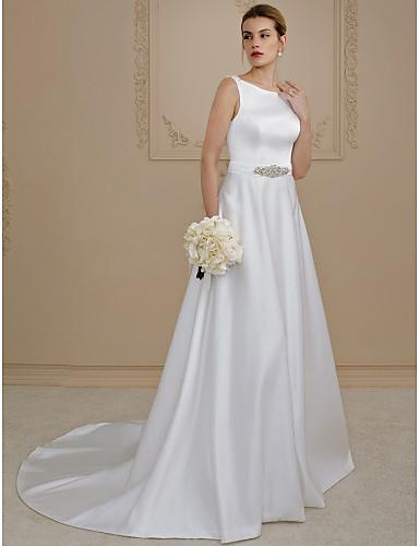 salón camiseta con cuello redondo corte satén vestidos de novia