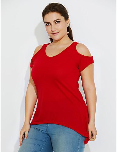 billige T-skjorter til damer-Bomull Løstsittende Løse skuldre Store størrelser T-skjorte Dame - Ensfarget, Dusk Militærgrønn / Havfrue / Sommer / Sexy